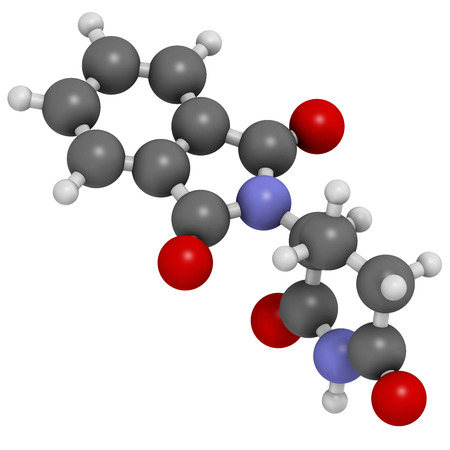 myeloma: Thalidomide theratogenic drug molecule. Initially used as antiemetic to treat morning sickness in pregnant women but found to cause serious birth defects. Still used in treatment of multiple myeloma. Atoms are represented as spheres with conventional colo