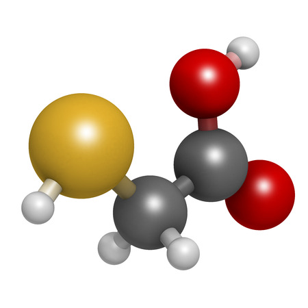 ammonium: Thioglycolic acid (TGA) molecule. Used in chemical depilation and for making permanent waves (perms) in hair. The latter involves the ammonium thioglycolate form. Atoms are represented as spheres with conventional color coding: hydrogen (white), carbon (g