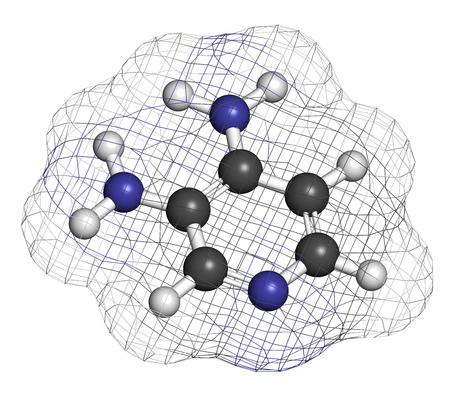 ms: Amifampridine (3,4-diaminopyridine, 3,4-DAP) orphan drug. Used to treat rare muscle diseases. Atoms are represented as spheres with conventional color coding: hydrogen (white), carbon (grey), nitrogen (blue).