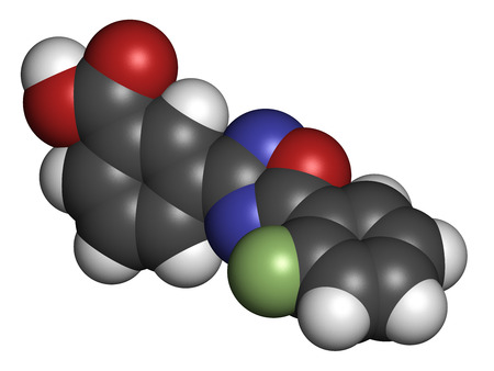 cystic: Ataluren genetic disorder drug. Investigated in treatment of cystic fibrosis and Duchenne muscular dystrophy. Thought to work by making ribosomes skip stop codons. Atoms are represented as spheres with conventional color coding: hydrogen (white), carbon (