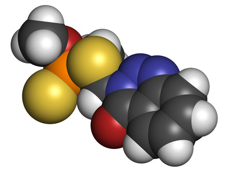 acetylcholinesterase: Azinphos-methyl organophosphate insecticide. Acts as neurotoxin through the inhibition of acetylcholinesterase. Atoms are represented as spheres with conventional color coding: hydrogen (white), carbon (grey), nitrogen (blue), oxygen (red), sulfur (yellow Stock Photo