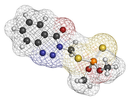 methyl: Azinphos-methyl organophosphate insecticide. Acts as neurotoxin through the inhibition of acetylcholinesterase. Atoms are represented as spheres with conventional color coding: hydrogen (white), carbon (grey), nitrogen (blue), oxygen (red), sulfur (yellow Stock Photo