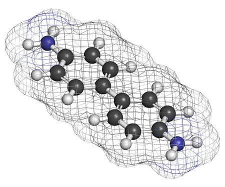 pancreatic cancer: Benzidine (4,4'-diaminobiphenyl) chemical. Highly carcinogenic. Used in production of dyes. Atoms are represented as spheres with conventional color coding: hydrogen (white), carbon (grey), nitrogen (blue).