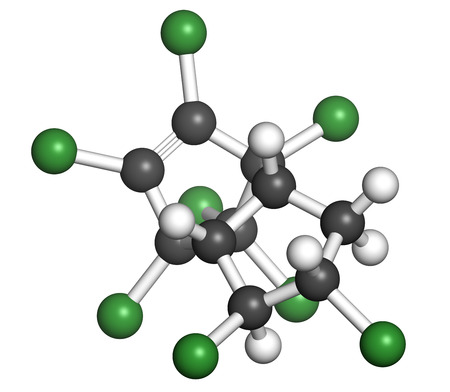 testicular cancer: Chlordane banned pesticide molecule. Highly toxic and carcinogenic insecticide. Atoms are represented as spheres with conventional color coding: hydrogen (white), carbon (grey), chlorine (green).