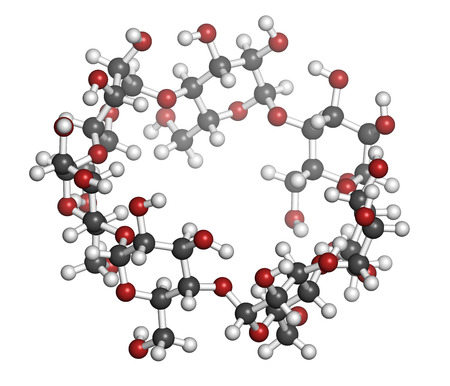 solubility: Beta-cyclodextrin molecule. Used in pharmaceuticals, food, deodorizing products, etc. Composed of glucose molecules. Atoms are represented as spheres with conventional color coding: hydrogen (white), carbon (grey), oxygen (red). Stock Photo