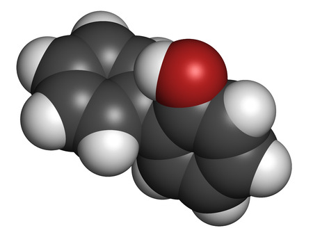 biphenyl: 2-Phenylphenol biocide molecule. Commonly used preservative, also known as biphenylol and orthophenyl phenol. Atoms are represented as spheres with conventional color coding: hydrogen (white), carbon (grey), oxygen (red). Stock Photo