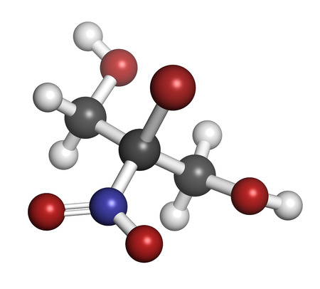 preservative: Bronopol preservative molecule. Possibly carcinogenic through nitrosamine formation. Atoms are represented as spheres with conventional color coding: hydrogen (white), carbon (grey), oxygen (red), nitrogen (blue), bromine (brown).