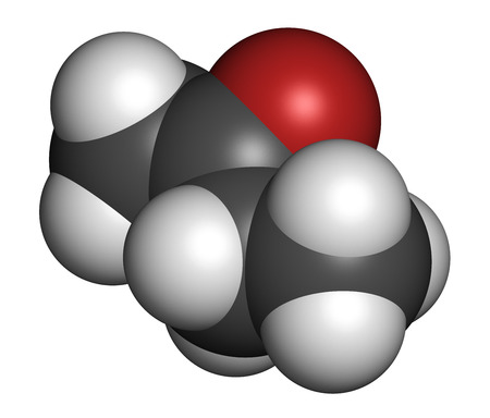 methyl: Butanone (methyl ethyl ketone, MEK) industrial solvent, chemical structure. Atoms are represented as spheres with conventional color coding: hydrogen (white), carbon (grey), oxygen (red). Stock Photo