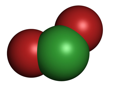bleaching: Chlorine dioxide (ClO2) molecule. Used in pulp bleaching and for disinfection of drinking water. Atoms are represented as spheres with conventional color coding: chlorine (green), oxygen (red).