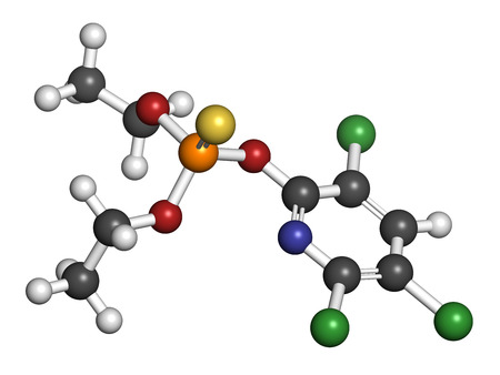 Chlorpyrifos organophosphate pesticide molecule. Toxic and carcinogenic. Mainly used in agriculture. Atoms are represented as spheres with conventional color coding: hydrogen (white), carbon (grey), nitrogen (blue), oxygen (red), sulfur (yellow), phosphor Imagens - 25356704