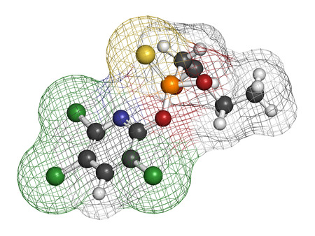 acetylcholinesterase: Chlorpyrifos organophosphate pesticide molecule. Toxic and carcinogenic. Mainly used in agriculture. Atoms are represented as spheres with conventional color coding: hydrogen (white), carbon (grey), nitrogen (blue), oxygen (red), sulfur (yellow), phosphor Stock Photo