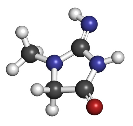 Creatinine molecuul. Creatine afbraakproduct. Creatinineklaring wordt gebruikt om de nierfunctie te meten. Atomen worden weergegeven als bollen met conventionele kleurcodering: waterstof (wit), koolstof (grijs), stikstof (blauw), zuurstof (rood).