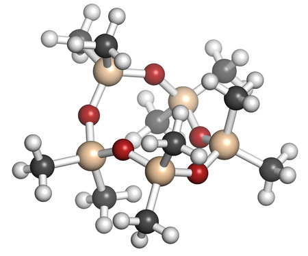 Decamethylcyclopentasiloxane (D5) molecule. Cyclic silicone chemical, frequently used in cosmetics (deodorants, sunblocks, hair and skin care, etc.). Atoms are represented as spheres with conventional color coding: hydrogen (white), carbon (grey), oxygen  Reklamní fotografie