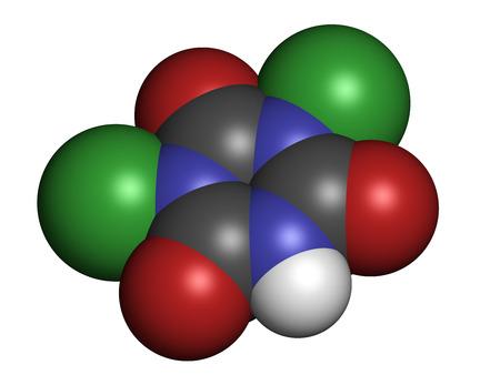 disinfectant: Trocloseno (�cido dicloroisocian�rico) mol�cula. Se utiliza como desinfectante, desodorante, biocida, detergente y en la purificaci�n del agua. Los �tomos se representan como esferas con codificaci�n convencional color: hidr�geno (blanco), el carb�n (gris), nitr�geno (azul), el ox�geno (roja), Foto de archivo