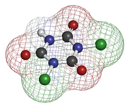 desinfectante: Trocloseno (�cido dicloroisocian�rico) mol�cula. Se utiliza como desinfectante, desodorante, biocida, detergente y en la purificaci�n del agua. Los �tomos se representan como esferas con codificaci�n convencional color: hidr�geno (blanco), el carb�n (gris), nitr�geno (azul), el ox�geno (roja), Foto de archivo