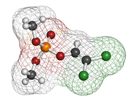 acetylcholinesterase: Dichlorvos organophosphate insecticide molecule. Neurotoxin pesticide that blocks the acetylcholinesterase enzyme. Atoms are represented as spheres with conventional color coding: hydrogen (white), carbon (grey), nitrogen (blue), oxygen (red), phosphorus