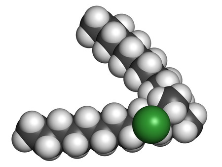 antiseptic: Didecyldimethylammonium chloride antiseptic molecule. Biocidal disinfectant, active against bacteria and fungi. Atoms are represented as spheres with conventional color coding: hydrogen (white), carbon (grey), nitrogen (blue), chlorine (green).
