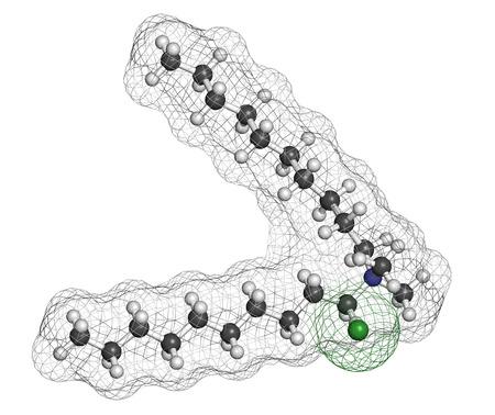 bactericidal: Didecil dimetilamonio mol�cula de cloruro de antis�ptico. Desinfectante biocidas, activo contra bacterias y hongos. Los �tomos se representan como esferas con codificaci�n convencional color: hidr�geno (blanco), el carb�n (gris), nitr�geno (azul), cloro (verde).