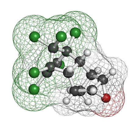 pollutant: Dieldrin pesticide molecule. Insecticide that persists for very long time in environment (Persistent Organic Pollutant). Atoms are represented as spheres with conventional color coding: hydrogen (white), carbon (grey), nitrogen (blue), oxygen (red), chlor