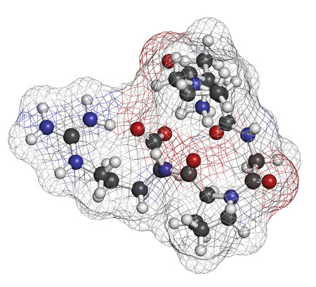 proline: Enterostatin signaling peptide molecule. Reduces food and fat intake. Atoms are represented as spheres with conventional color coding: hydrogen (white), carbon (grey), nitrogen (blue), oxygen (red). Stock Photo