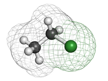 hydrocarbon: Chloroethane (ethylchloride) molecule. Used as mild topical anesthetic agent and as recreational inhalant drug. Atoms are represented as spheres with conventional color coding: hydrogen (white), carbon (grey), chlorine (green).