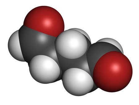 disinfectant: Glutaraldehyde (glutaral) disinfectant molecule. Used in disinfection of medical devices and surgical instruments. Atoms are represented as spheres with conventional color coding: hydrogen (white), carbon (grey), oxygen (red).