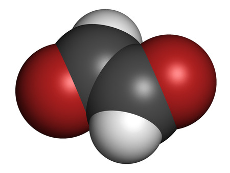 dione: Glyoxal dialdehyde molecule. Present in fermented food and beverages. Many applications in chemical industry. Atoms are represented as spheres with conventional color coding: hydrogen (white), carbon (grey), oxygen (red).