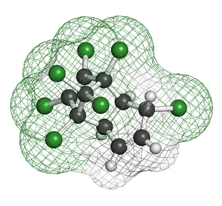 pollutant: Heptachlor organochlorine pesticide molecule. Insecticide and known Persistent Organic Pollutant (POP) Atoms are represented as spheres with conventional color coding: hydrogen (white), carbon (grey), chlorine (green). Stock Photo