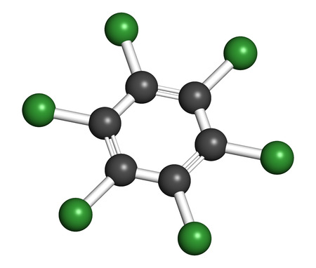 benzene: Hexachlorobenzene (perchlorobenzene, HCB) banned fungicide molecule. Persistent Organic Pollutant and probable human carcinogen. Atoms are represented as spheres with conventional color coding: hydrogen (white), carbon (grey), chlorine (green). Stock Photo