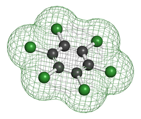 probable: Hexachlorobenzene (perchlorobenzene, HCB) banned fungicide molecule. Persistent Organic Pollutant and probable human carcinogen. Atoms are represented as spheres with conventional color coding: hydrogen (white), carbon (grey), chlorine (green). Stock Photo