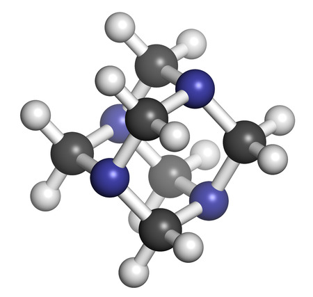 preservative: Hexamethylenetetramine (methenamine) molecule. Medically used to treat urinary tract infection. Used as food preservative (E239). Atoms are represented as spheres with conventional color coding: hydrogen (white), carbon (grey), nitrogen (blue).