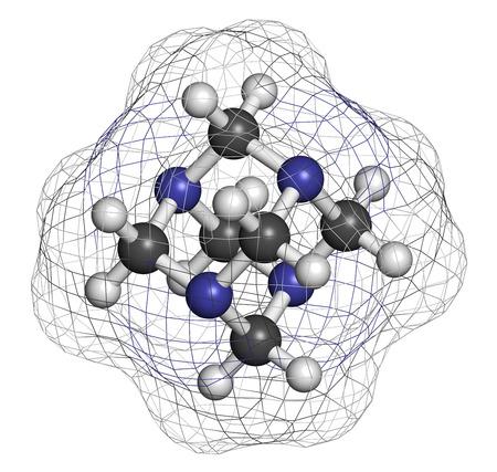 amoniaco: Hexametilentetramina (metenamina) mol�cula. M�dicamente se utiliza para tratar la infecci�n del tracto urinario. Se utiliza como conservante de alimentos (E239). Los �tomos se representan como esferas con codificaci�n convencional color: hidr�geno (blanco), el carb�n (gris), nitr�geno (azul).