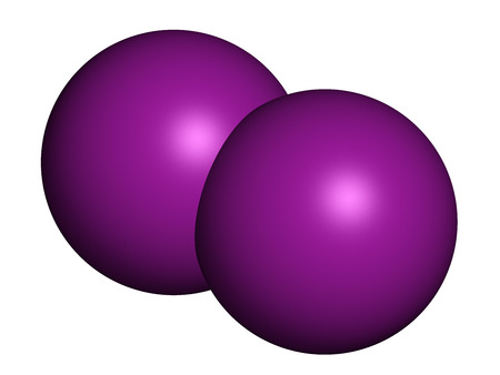 iodine: Iodine (I2) molecule. Solutions of elemental iodine are used as disinfectants. Atoms are represented as spheres with conventional color coding: iodine (purple).