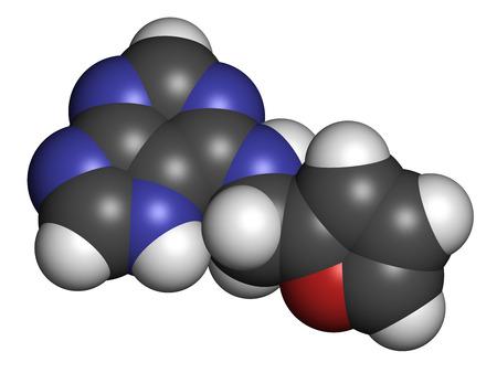 promotes: Kinetina (N6-furfuryladenine) mol�cula de hormona vegetal. Promueve la divisi�n celular en las plantas. Se utiliza en el cuidado de la piel y cosm�ticos por supuestas propiedades anti-envejecimiento. Los �tomos se representan como esferas con codificaci�n convencional color: hidr�geno (blanco), el carb�n (gris), ni