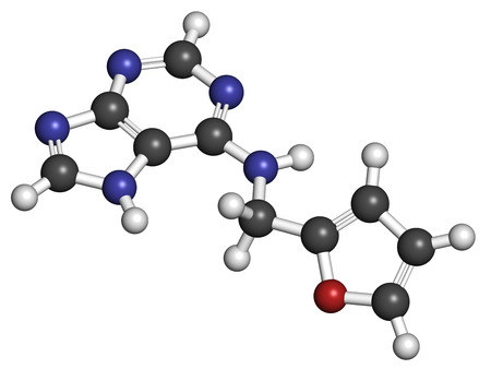 supposed: Kinetin (N6-furfuryladenine) plant hormone molecule. Promotes cell division in plants. Used in skin care and cosmetics for supposed anti-aging properties. Atoms are represented as spheres with conventional color coding: hydrogen (white), carbon (grey), ni