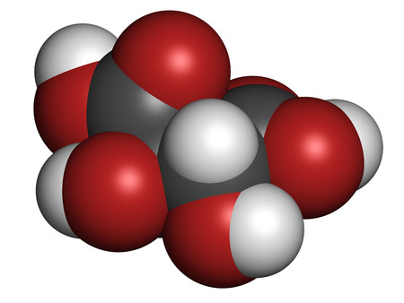 leavening: Tartaric acid (dextrotartaric acid) molecule. Acid present in wine, added as oxidant additive E334 to food. Atoms are represented as spheres with conventional color coding: hydrogen (white), carbon (grey), oxygen (red).