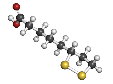 chelation: Lipoic acid enzyme cofactor molecule. Present in many nutritional supplements. Believed to have anti-oxidant, anti-aging and weight-loss effects. Atoms are represented as spheres with conventional color coding: hydrogen (white), carbon (grey), oxygen (red