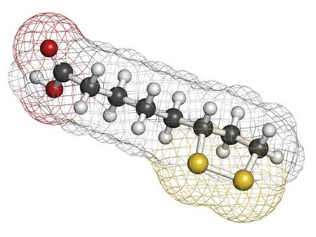hydrog�ne: Mol�cule de cofacteur enzymatique de l'acide lipo�que. Pr�sent dans de nombreux suppl�ments nutritionnels. Aurait anti-oxydant, anti-vieillissement et les effets de perte de poids. Atomes sont repr�sent�s comme des sph�res avec codage classique de couleur: l'hydrog�ne (blanc), le carbone (gris), l'oxyg�ne (rouge
