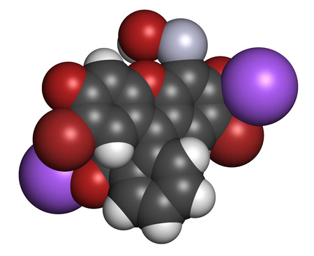 topical: Merbromin topical antiseptic molecule. Used to treat wounds. Contains mercury. Atoms are represented as spheres with conventional color coding: hydrogen (white), carbon (grey), sodium (purple), oxygen (red), bromine (brown), mercury (grey-blue). Stock Photo