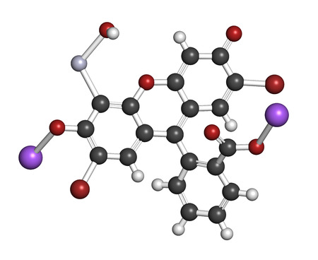 antiseptic: Merbromin topical antiseptic molecule. Used to treat wounds. Contains mercury. Atoms are represented as spheres with conventional color coding: hydrogen (white), carbon (grey), sodium (purple), oxygen (red), bromine (brown), mercury (grey-blue). Stock Photo