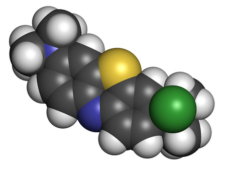 oxidase: Methylene blue (methylthionium chloride) dye molecule. Atoms are represented as spheres with conventional color coding: hydrogen (white), carbon (grey), nitrogen (blue), sulfur (yellow), chlorine (green). Stock Photo