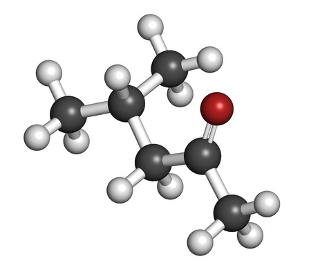 methyl: Methyl isobutyl ketone molecule. Used as chemical solvent and to denature alcohol. Atoms are represented as spheres with conventional color coding: hydrogen (white), carbon (grey), oxygen (red).