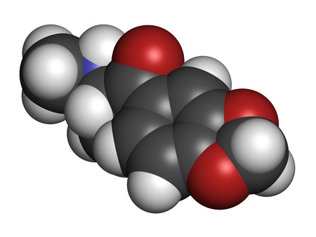 Methylone (bk-MDMA) stimulant molecule. Used as recreational drug. Atoms are represented as spheres with conventional color coding: hydrogen (white), carbon (grey), nitrogen (blue), oxygen (red). photo