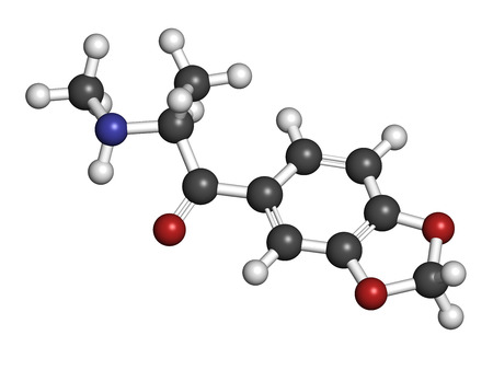 mdma: Methylone (bk-MDMA) stimulant molecule. Used as recreational drug. Atoms are represented as spheres with conventional color coding: hydrogen (white), carbon (grey), nitrogen (blue), oxygen (red).
