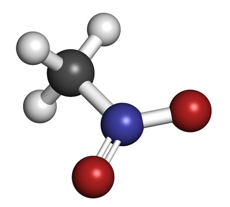 methyl: Nitromethane nitro fuel molecule. Used as fuel to power rockets, drag racing cars, etc. Also used as high explosive. Atoms are represented as spheres with conventional color coding: hydrogen (white), carbon (grey), nitrogen (blue), oxygen (red). Stock Photo