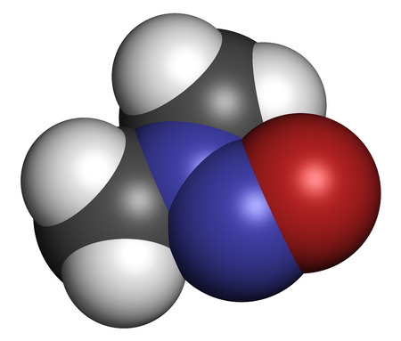 N-Nitrosodimethylamine (dimethylnitrosamine, NDMA, DMN) pollutant molecule. Highly toxic, especially to the liver and suspected carcinogen. Atoms are represented as spheres with conventional color coding: hydrogen (white), carbon (grey), nitrogen (blue),