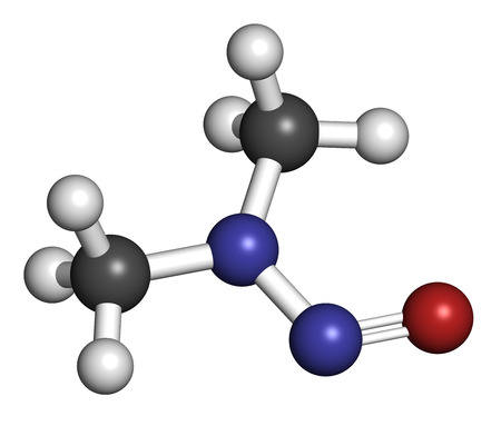 suspected: N-Nitrosodimethylamine (dimethylnitrosamine, NDMA, DMN) pollutant molecule. Highly toxic, especially to the liver and suspected carcinogen. Atoms are represented as spheres with conventional color coding: hydrogen (white), carbon (grey), nitrogen (blue),
