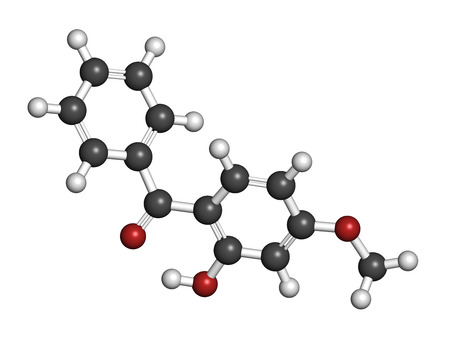 ultraviolet: Oxybenzone sunscreen molecule. Atoms are represented as spheres with conventional color coding: hydrogen (white), carbon (grey), oxygen (red).