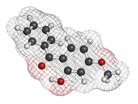 Oxybenzone sunscreen molecule. Atoms are represented as spheres with conventional color coding: hydrogen (white), carbon (grey), oxygen (red).