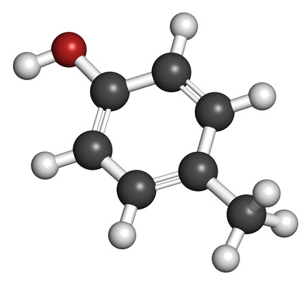 creosote: P-cresol (para-cresol, 4-methylphenol) molecule. Component of human sweat. Atoms are represented as spheres with conventional color coding: hydrogen (white), carbon (grey), oxygen (red).